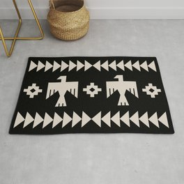 Southwestern Eagle and Arrow Pattern 121 Black and Linen White Rug