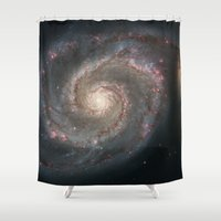 nasa Shower Curtains featuring Bright spiral nebula galaxy stars hipster geek cool space star nebulae NASA photo sci-fi landscape by iGallery