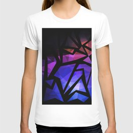 Abstract print of triangles polygon print. Bright dark design colors T-shirt