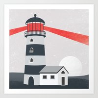lighthouse Art Prints featuring Lighthouse by Mila Spasova