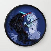 starwars Wall Clocks featuring Starwars with Unicorns  by Jonah Makes Artstuff
