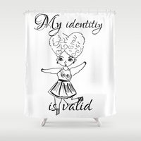 asexual Shower Curtains featuring My identity is valid by Adam M. Snowflake