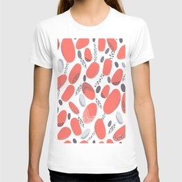 Living Coral and Grey Dots Active Wear Pattern T-shirt