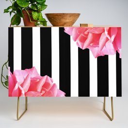 Pink roses on black and white stripes Credenza
