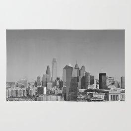 Black and White Philadelphia Skyline Rug