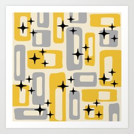 Retro Mid Century Modern Abstract Pattern 226 Yellow and Gray Art Print
