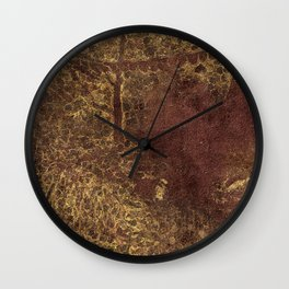 Dark yet warm forest Wall Clock