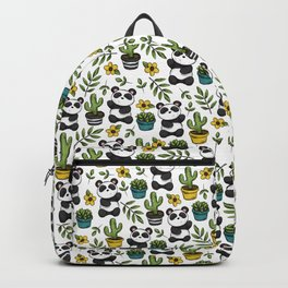Panda Print, Succulents, Greenery and Cute Pandas, Flowers and Cactus Backpack