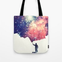 sky Tote Bags featuring Painting the universe by badbugs_art