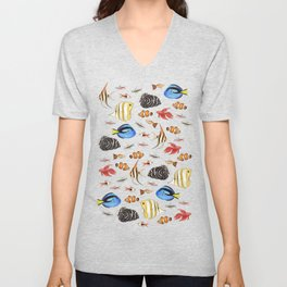 Tropical Fish on White - pattern Unisex V-Neck