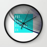 records Wall Clocks featuring Records - Blue by Galaxy Eyes