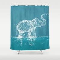 ornate elephant Shower Curtains featuring Elephant by Paula Belle Flores