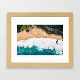 Waimea Bay Aerial Framed Art Print