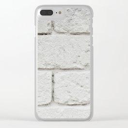 Wall texture white bricks Clear iPhone Case