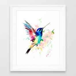 Hummingbird , Blue Turquoise Pink Framed Art Print