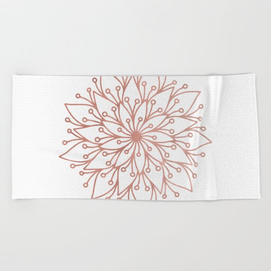 Mandala Blooming Rose Gold on White Beach Towel
