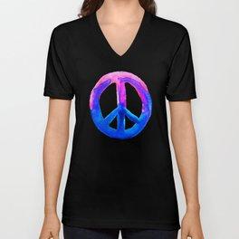 Pink Blue Watercolor Tie Dye Peace Sign Unisex V-Neck