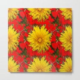 YELLOW DANDELION BLOSSOMS ON RED ORGANIC ART Metal Print