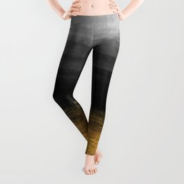 Black and Gold grunge stripes on modern grey concrete abstract background - Stripe -Striped Leggings