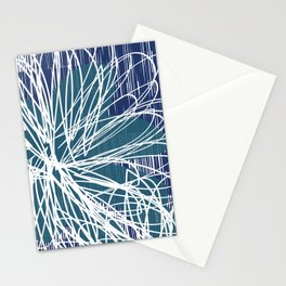 Blue Doodle Floral by Friztin Stationery Cards