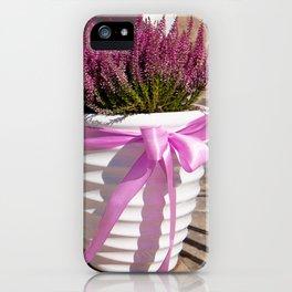 Blooming Calluna vulgaris or heather iPhone Case