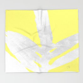 Green Fern on Lemon Yellow Inverted Throw Blanket