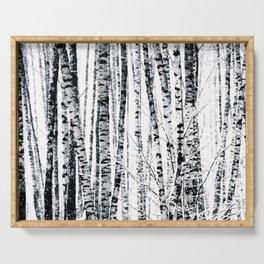 Birch Trees In Winter Serving Tray
