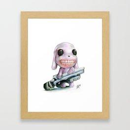 Little Dog..Big Gun | Illustration Painting Framed Art Print