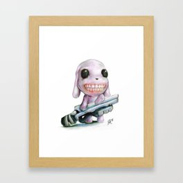 Little Dog..Big Gun   Illustration Painting Framed Art Print