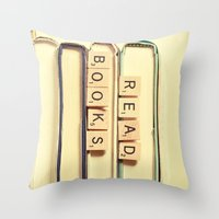 anaconda Throw Pillows featuring Read Books by Olivia Joy StClaire