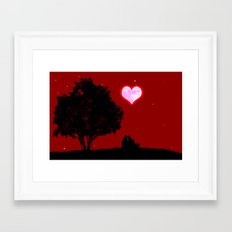 Red moon of love Framed Art Print