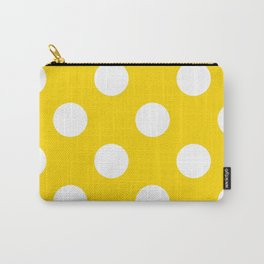 Large Polka Dots - White on Gold Yellow Carry-All Pouch