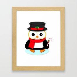 Festive Christmas Penguin Cartoon Framed Art Print