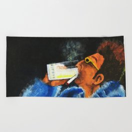 """HERE'S TO FEELIN' GOOD ALL THE TIME"" Beach Towel"