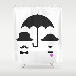 Lady and gentleman under the umbrella Shower Curtain