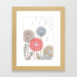 Red dandelions, watercolor Framed Art Print