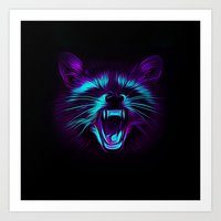 raccoon Art Prints featuring Raccoon by Asya Solo