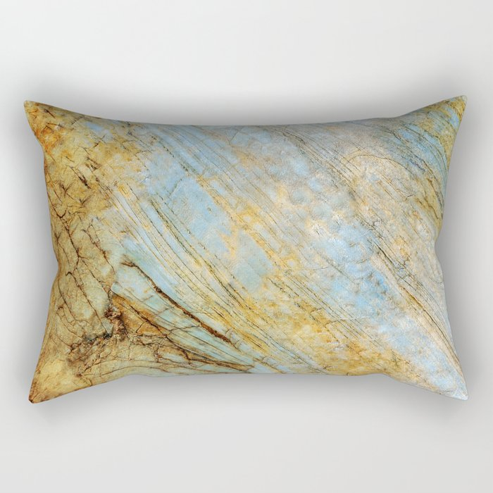 Blue and Gold Marble Rectangular Pillow