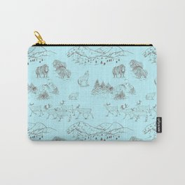 Arctic Wildlife Pattern (Light Blue and Brown) Carry-All Pouch