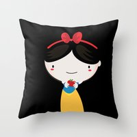 snow white Throw Pillows featuring Snow white by Maria Jose Da Luz