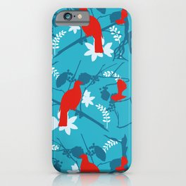 NZ Native Red Kereru (Wood Pigeon) and Fantail on Blue iPhone Case