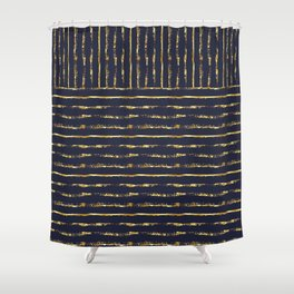 Midnight Blue with Golden Stripes Shower Curtain