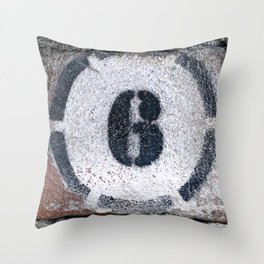 Six on Bricks Throw Pillow