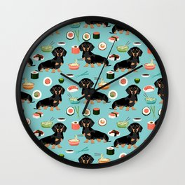 dachshund sushi black and tan doxie dog breed cute pattern gifts Wall Clock