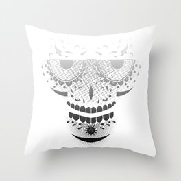 Sugar Skull - Day of the dead bw Throw Pillow