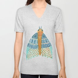 Watercolor Teal Moth/ Day 27/ Butterfly Art Unisex V-Neck