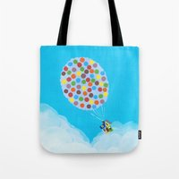 pixar Tote Bags featuring Up - Disney/Pixar by Justine Shih