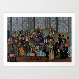 Mezed, the 7th Caliph of Arabia, in his court, watching Shamar raising his sword at the Imam. Gouach Art Print