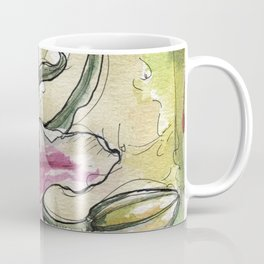 Stargazer Lily - Tiger Lily - Watercolor Flower Painting floral pink green  Coffee Mug