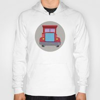 truck Hoodies featuring red truck by elvia montemayor